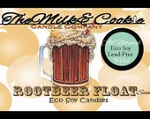 Rootbeer Float Scented Eco Friendly Soy Candle in 8 oz size Glass Cube with Lid
