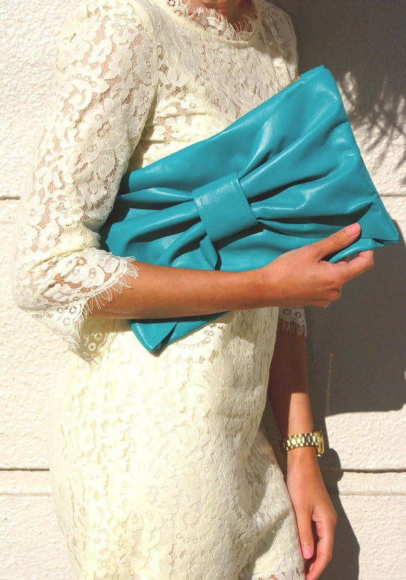 Turquiose Leather Bow Clutch