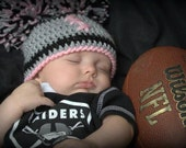 Crocheted baby girl football Cheerleader  beanie  Oakland Raiders, or Any Team Any Color Combination Cute photo prop