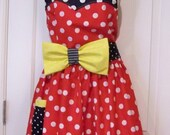 Womens Legends Minnie Mouse  Apron  Red  PLUS size womens Halloween Christmas Birthday Valentines
