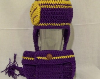 Crocheted basketball Beanie and Diaper Cover  LA Lakers or Any Team Any Team Color