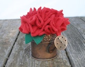 Ready to Ship --- Handmade Fabric Flowers in Mini Watering Can