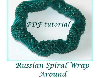 Russian Spiral Wrap Around beading pattern tutorial PDF