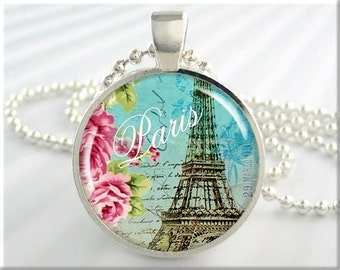 Paris Art Pendant Paris France Jewelry Necklace Eiffel Tower Picture Charm (054RS)