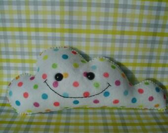 Polka Dot Cloud Plush Art Doll ooak Plushie Stuffed Animal Softie Gift Nursery