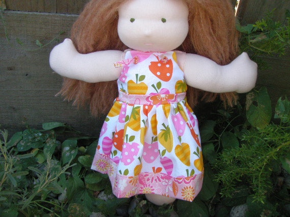 "Waldorf Doll Dress Knot Dress 10"" 11"" 12"" 13"" Waldorf Dolls Pink Citrus Fruits"