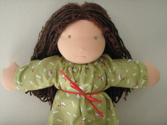 """Waldorf Doll 13"""" All Natural Wool Little River Doll- """"Vera"""" in Christmas Print Dress"""