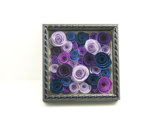 Reserved - Paper Rose Wall Art in Shades of Purple