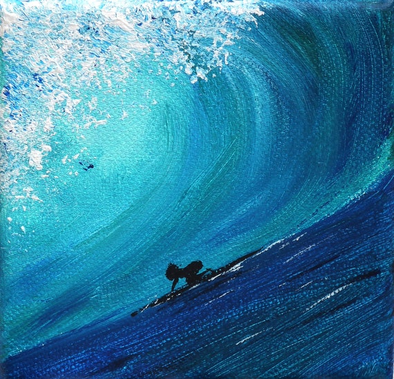 surfer girl, ocean, sea, the big wave, surfer on board, girl, surfer riding wave, acrylic, canvas 4x4, original painting, surfer no.120402