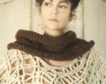 Hand Knit Scarf Chunky Knit Neckwarmer Cowl Brown Tweed Scarves for Women