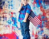 LARGE 5ft x 5ft Red / White / Blue Grunge ----- Foot Vinyl Photography Backdrop for Newborns, Babies and Children
