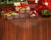 TWO IN ONE 5ft x 10ft Vinyl photography Backdrop  / Christmas Tree Lights and Red Wood Floor