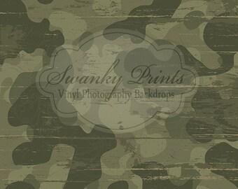 3.5ft x 3.5ft Vinyl Photography Backdrop / Custom Photography Prop / Grunge Camo