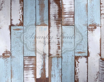 NEW ITEM 5ft x 4ft Vinyl Photography Backdrop WOOD Floordrop / Blue White Painted Scuffed Wood