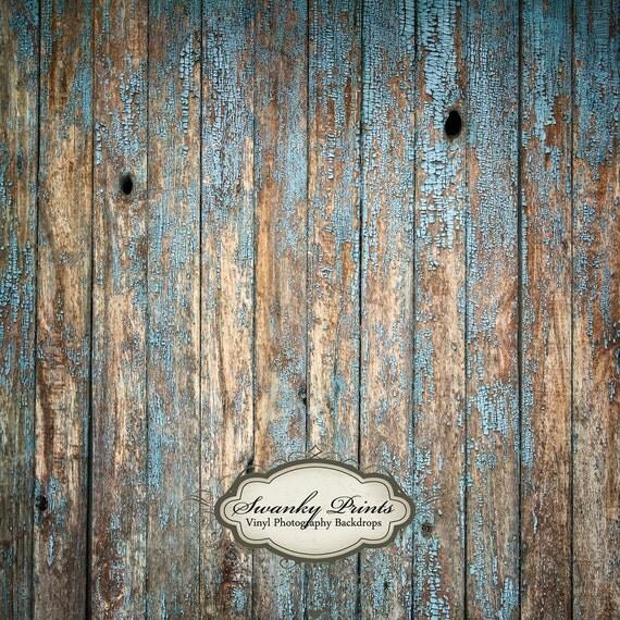 6ft x 6ft Vinyl Photography Backdrop /  Peeling Blue Wood