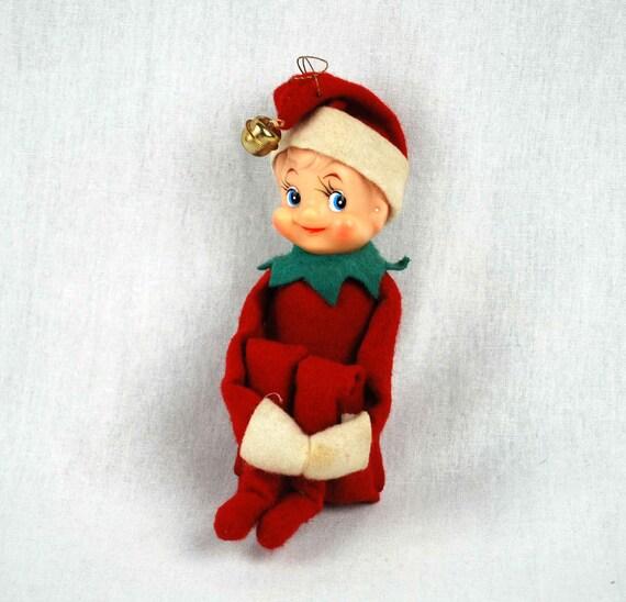Vintage Christmas Elf 1950s Holiday Shelf Sitting Doll