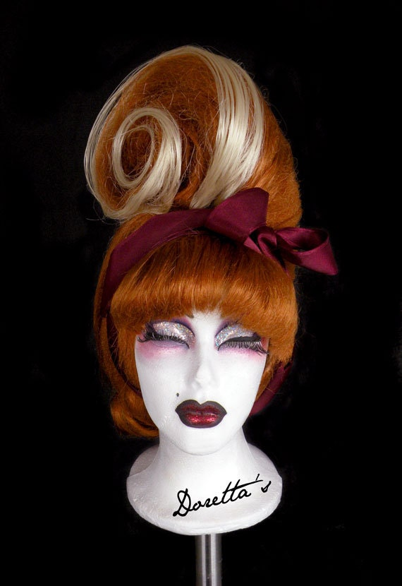 Ginger & Blonde Wig - Swirling Pin Up - Retro Updo with a twist - Doretta's creations