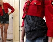 Red Crop Jacket with Military Patch