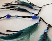 Something blue - Beach Wedding - Barefoot Sandals, feather fringe sandal, fringed anklet, summer music festival