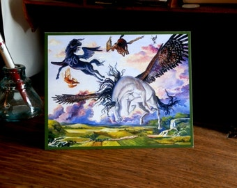 """Pegasus Flying Horse Blank Note Cards """"O To Fly"""" 5 Pack"""