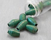 Handmade Paper Beads - Forest Green - 12 pcs