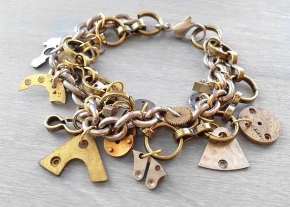 Steampunk Charm Bracelet with Watch Parts and Found Objects