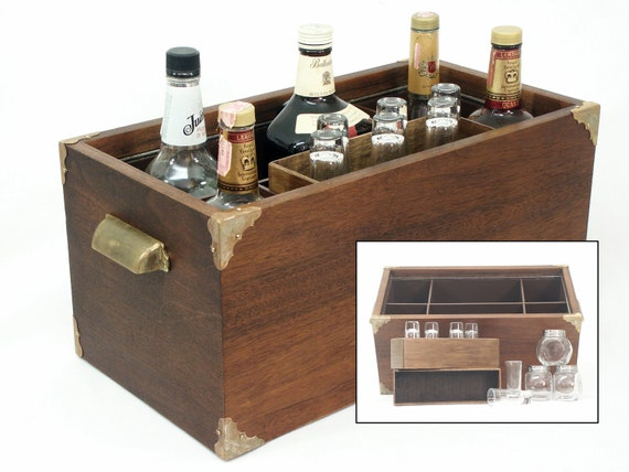 LIQUOR CADDY, Liquor Box, Bar Accessories, Stash Box from vintage AR 4x speaker plus accessories