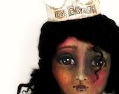 Art Doll Cloth Girl Crown Courage OOAK