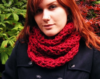 Red Cowl Scarf Crochet Accessory