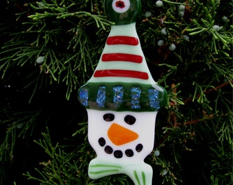 Fused Glass Christmas Ornament - Snowman
