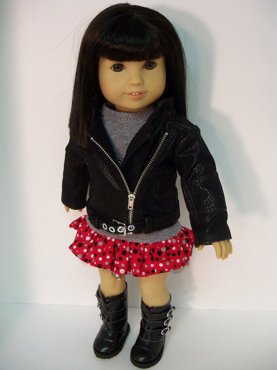 American Girl Doll Clothes Motorcycle Jacket Skirt Rock