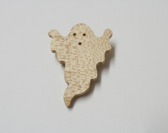 ghost brooch  wood  scroll saw