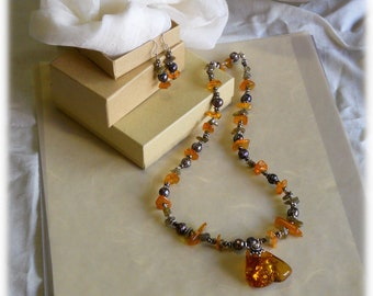 Amber, Pearl, Labradorite, and Sterling Silver, Beaded Necklace, Pendant, Amulet Charm