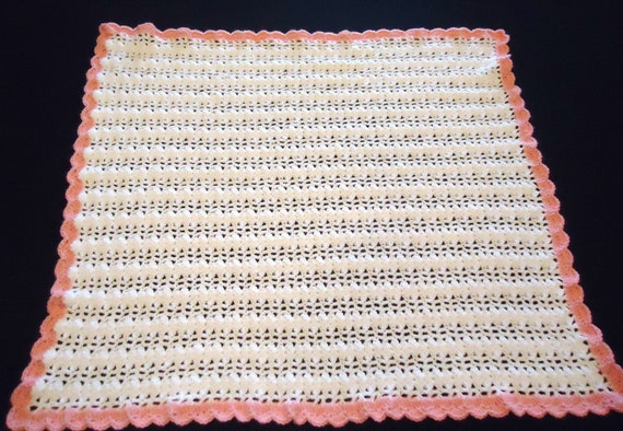 baby shells blanket - white with pink trim