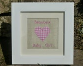 Baby Girl Gift. Nursery Decoration. Baptism. Personalised Baby Gift. Mounted in ivory with a White frame. New Baby Girl. Pink Gingham.