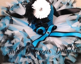 Blue Black and White Petti Tutu Dress~ Kids Birthday Tutus~ Kids Photo Props~ Flower Girt Dress~ Pageant Dress