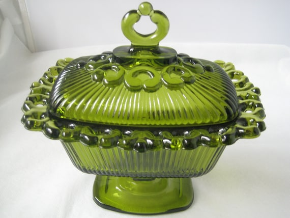 Green Indiana Glass Lace Edge Candy Dish ...Vintage Candle Holder....Retro Butter Dish