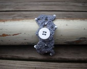 crocheted bracelet grey with little white beads one size OOAK