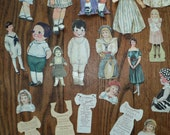 Reserved for Cheryl:  ANTIQUE PAPER DOLL Collection of 71 Pieces, Dolls with coats, hats, dress ware for Boy s and Girls,  in Mint Condition