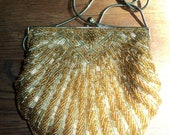 Vintage Golden Beaded Formal Evening Bag  for Special Occasions in Mint Condition with elegant satin lining use as a clutch or shoulder bag