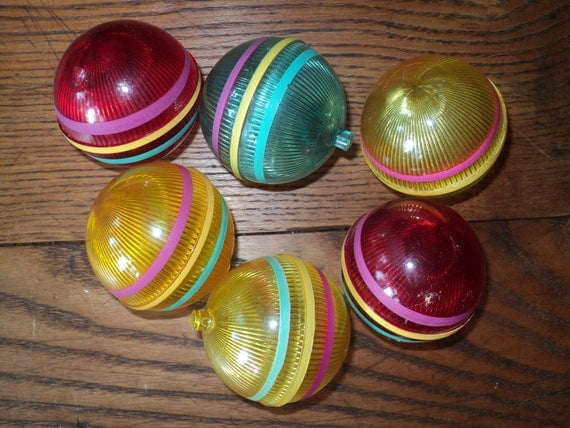 6 Vintage Plastic Christmas Ornaments  with great retro vintage appeal,  christmas nostalgia as well as being unbreakable.