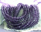 2 Strands ~ 100 Pieces 3mm Fire Polished Beads, Czech Glass Beads, Faceted Glass Beads, Tanzanite Purple Beads CZ-108