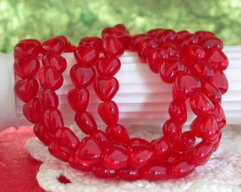 6mm Heart Beads, Czech Glass Heart Beads, Red Heart Beads, Hearts, Heart Beads CZ-059