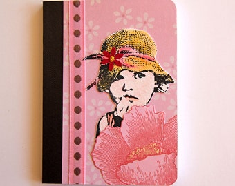 Little Girl Mini Journal, Pocket Notebook, Pink Journal, Altered Composition Book, Personal Diary and Planner, Childhood Memories Book
