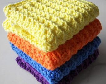 Set of 4 Vibrant Color Cotton Washcloths Cotton Soft Wash Cloths-Bright Colorful Wash Cloths made in USA