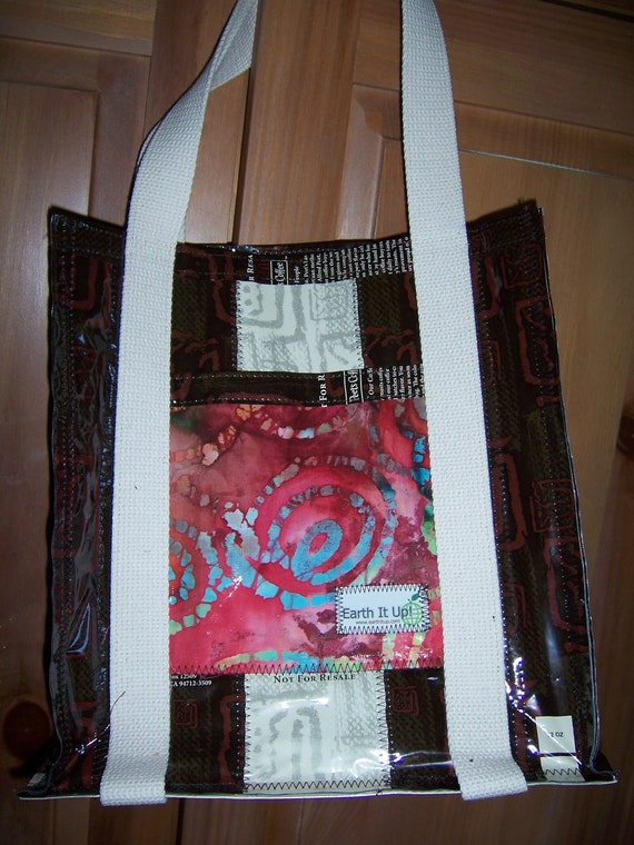 Pink Batik Upcycled Tote made from Peet's Coffee Bags