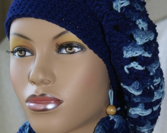 Crochet Tam with Matching Earrings-Navy Blue  Made To Order