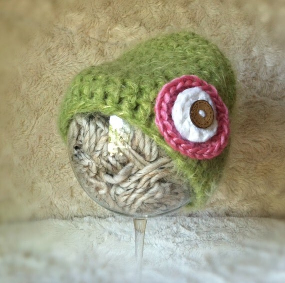 super soft newborn pea green baby beanie with pink & white circle modern flower, wood button, newborn photo prop