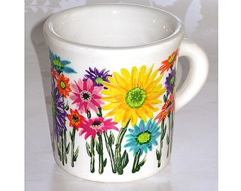 50s Homer Laughlin Diner Coffee Mug, CUPPA JOE, Daisys, Chrysanthemums, hand painted, signed.