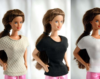 Barbie Clothes Tailor Made by Tunafairy - Upcycled Basic T-Shirt or Top in a Choice of Colors Barbie or Similar Doll